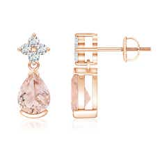 Pear-Shaped Morganite Drop Earrings with Diamonds