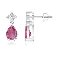 Pear-Shaped Pink Tourmaline Drop Earrings with Diamonds
