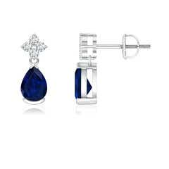 Pear-Shaped Blue Sapphire Drop Earrings with Diamonds