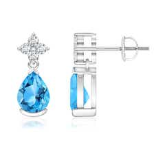 Pear Swiss Blue Topaz Teardrop Earrings with Diamond Flower