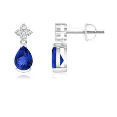 Pear-Shaped Tanzanite Drop Earrings with Diamonds