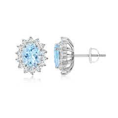 Oval Aquamarine Flower Stud Earrings with Diamond Halo