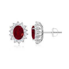 Oval Garnet Flower Stud Earrings with Diamond Halo