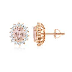 Oval Morganite Flower Stud Earrings with Diamond Halo