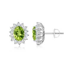 Oval Peridot Flower Stud Earrings with Diamond Halo