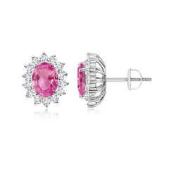 Oval Pink Sapphire Flower Stud Earrings with Diamond Halo