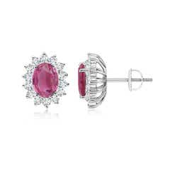 Oval Pink Tourmaline Flower Stud Earrings with Diamond Halo