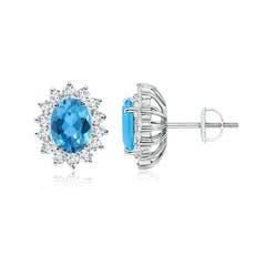 Oval Swiss Blue Topaz Flower Stud Earrings with Diamond Halo