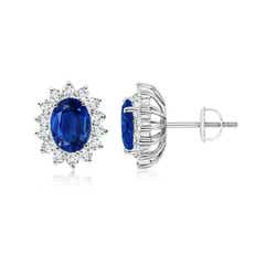 Oval Blue Sapphire Flower Stud Earrings with Diamond Halo