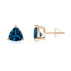 Basket-Set Trillion London Blue Topaz Stud Earrings