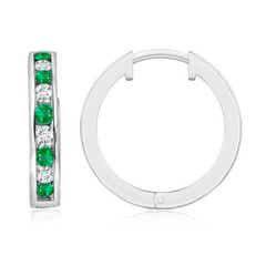 Channel-Set Emerald and Diamond Hinged Hoop Earrings