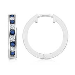 Channel-Set Blue Sapphire and Diamond Hinged Hoop Earrings