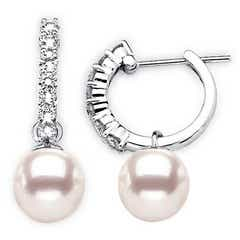 Akoya Cultured Pearl Hinged Clip Earrings with Diamonds