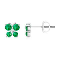 Emerald Butterfly Stud Earrings with Diamond