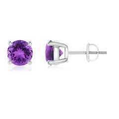 Angara Prong Set Amethyst Stud Earrings with Diamonds FST47