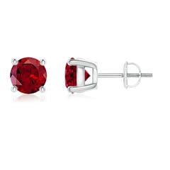 Round Garnet Stud Earrings