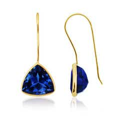 Trillion Lab Created Blue Sapphire Fish-Hook Earrings