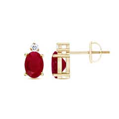 Prong-Set Oval Ruby Stud Earrings in Yellow Gold