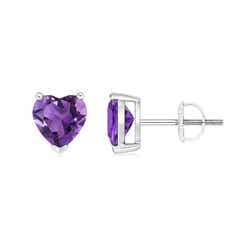 Amethyst Solitaire Heart Stud Earrings