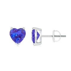 Tanzanite Solitaire Heart Stud Earrings