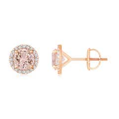 Classic Morganite and Diamond Halo Stud Earrings