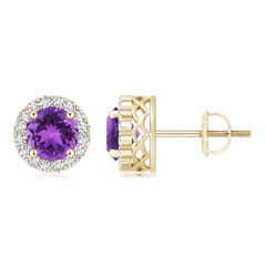 Round Amethyst and Diamond Halo Stud Earrings