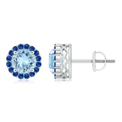 Round Aquamarine and Sapphire Halo Stud Earrings