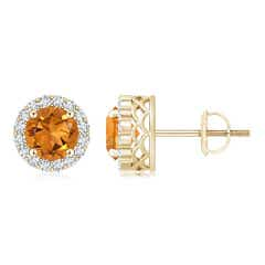 Round Citrine and Diamond Halo Stud Earrings
