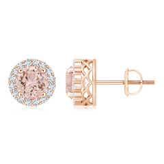 Round Morganite and Diamond Halo Stud Earrings