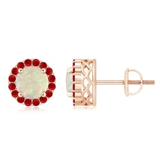 Round Opal and Ruby Halo Stud Earrings
