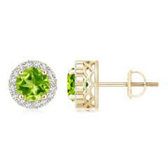 Round Peridot and Diamond Halo Stud Earrings