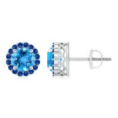 Round Swiss Blue Topaz and Sapphire Halo Stud Earrings