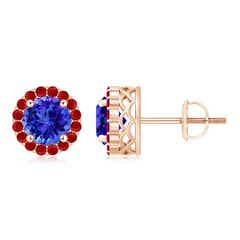Round Tanzanite and Ruby Halo Stud Earrings