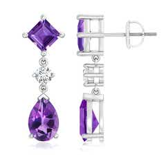 Square and Pear Amethyst Drop Earrings with Diamond