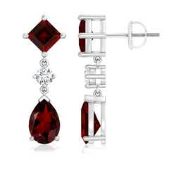 Square and Pear Garnet Drop Earrings with Diamond