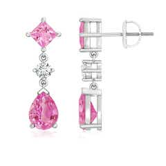 Square and Pear Pink Sapphire Drop Earrings with Diamond