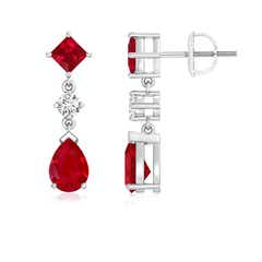 Square and Pear Ruby Drop Earrings with Diamond