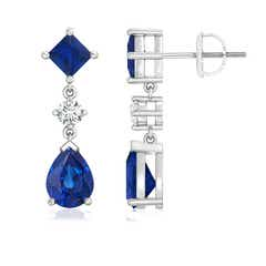 Square and Pear Blue Sapphire Drop Earrings with Diamond