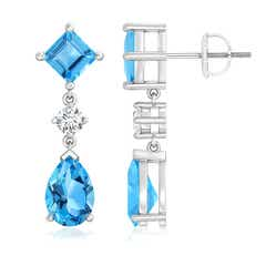 Pear and Square Swiss Blue Topaz Teardrop Earrings with Diamond