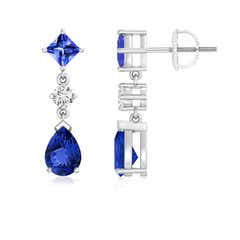 Square and Pear Tanzanite Drop Earrings with Diamond