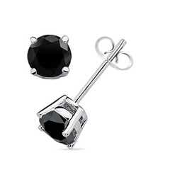 Basket-Set Round Enhanced Black Diamond Stud Earrings
