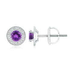 Amethyst Margarita Stud Earrings with Diamond Halo