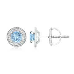 Aquamarine Margarita Stud Earrings with Diamond Halo