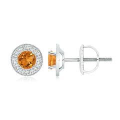 Citrine Margarita Stud Earrings with Diamond Halo