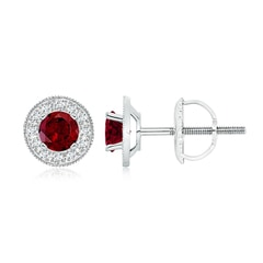 Garnet Margarita Stud Earrings with Diamond Halo