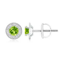 Peridot Margarita Stud Earrings with Diamond Halo