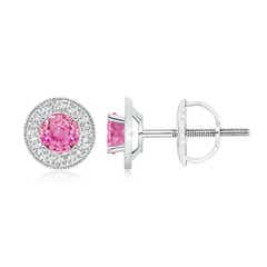 Pink Sapphire Margarita Stud Earrings with Diamond Halo