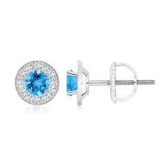 Angara Semi-Bezel Oval Swiss Blue Topaz Solitaire Earrings hRhkJsn4w