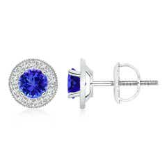 Tanzanite Margarita Stud Earrings with Diamond Halo