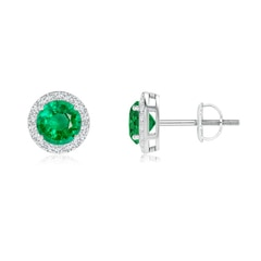 Vintage-Inspired Round Emerald Halo Stud Earrings